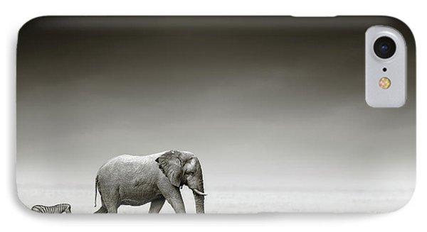 Africa iPhone 8 Case - Elephant With Zebra by Johan Swanepoel