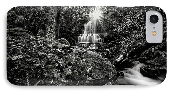 Elora Falls In Black And White IPhone Case