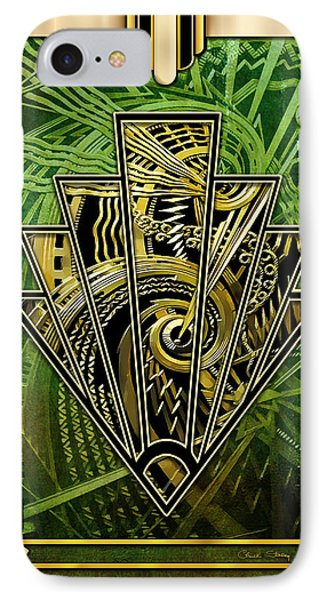 IPhone Case featuring the digital art Emerald Green And Gold by Chuck Staley