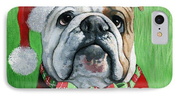 Holiday Cheer -english Bulldog Santa Dog Painting IPhone Case