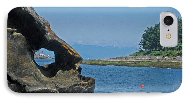 Entrance Island Lighthouse Through A Rock Window IPhone Case