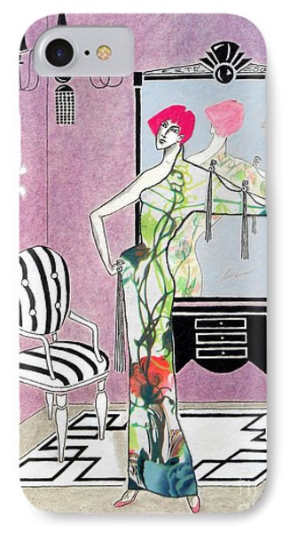 Erte'-esque -- Art Deco Interior W/ Fashion Figure IPhone Case