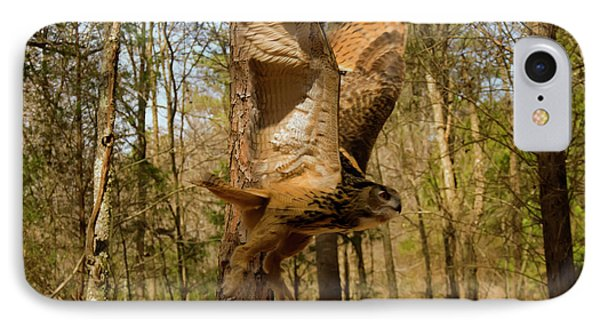 Eurasian Eagle Owl In Flight IPhone Case