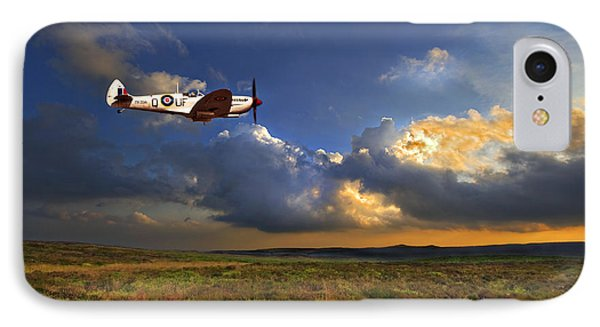 Sky iPhone 8 Case - Evening Spitfire by Meirion Matthias