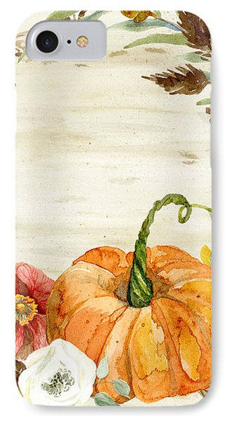 IPhone Case featuring the painting Fall Autumn Harvest Wreath On Birch Bark Watercolor by Audrey Jeanne Roberts