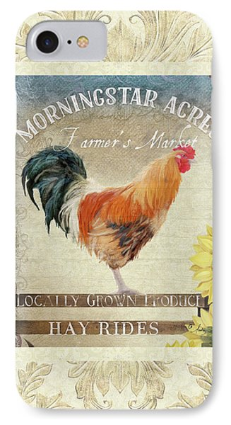 IPhone Case featuring the painting Farm Fresh Damask Barnyard Rooster Sunflower Square by Audrey Jeanne Roberts