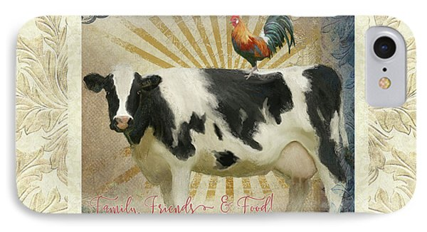 IPhone Case featuring the painting Farm Fresh Damask Milk Cow Red Rooster Sunburst Family N Friends by Audrey Jeanne Roberts
