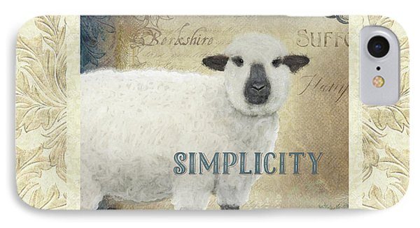 IPhone Case featuring the painting Farm Fresh Damask Sheep Lamb Simplicity Square by Audrey Jeanne Roberts