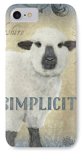 IPhone Case featuring the painting Farm Fresh Sheep Lamb Simplicity Square by Audrey Jeanne Roberts