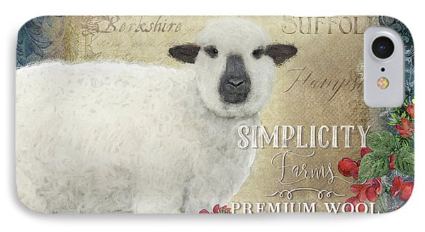 IPhone Case featuring the painting Farm Fresh Sheep Lamb Wool Farmhouse Chic  by Audrey Jeanne Roberts