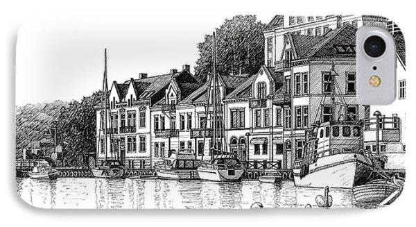 Farsund Harbor In Ink IPhone Case
