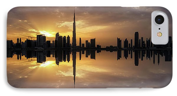 Fascinating Reflection In Business Bay District During Dramatic Sunset. Dubai, United Arab Emirates. IPhone Case