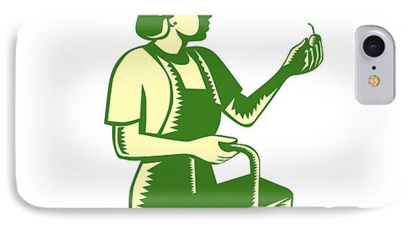 Female Fruit Picker Worker Basket Woodcut IPhone Case