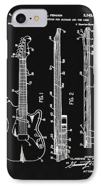 Fender Stratocaster Patent 1964 Black And White IPhone Case