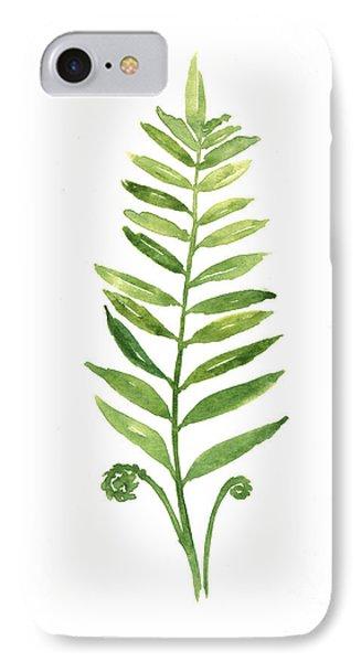 Garden iPhone 8 Case - Fern Leaf Watercolor Painting by Joanna Szmerdt