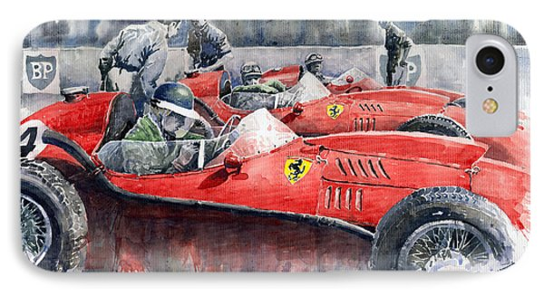 Car iPhone 8 Case - Ferrari Dino 246 F1 1958 Mike Hawthorn French Gp  by Yuriy Shevchuk