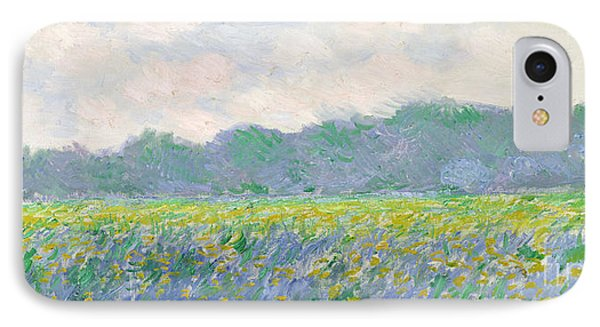 Rural Scenes iPhone 8 Case - Field Of Yellow Irises At Giverny by Claude Monet