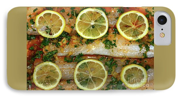 IPhone Case featuring the photograph Fish With Lemon And Coriander By Kaye Menner by Kaye Menner