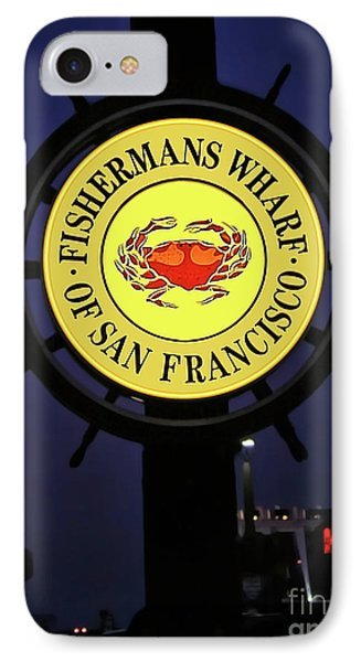 Fishermans Wharf Sign At Night IPhone Case