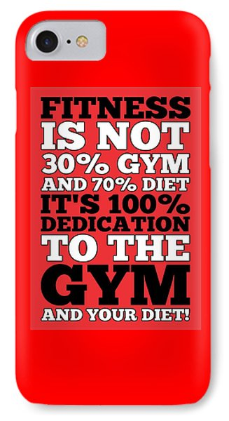 Fitness Is Not Half Gym And Full Diet Gym Motivational Quotes Poster IPhone Case