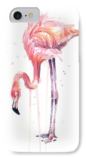 Flamingo Illustration Watercolor - Facing Left IPhone Case
