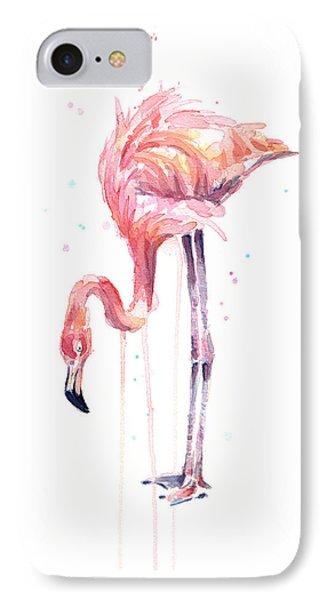 Flamingo Watercolor - Facing Left IPhone Case