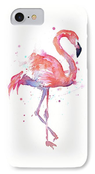 Whimsical iPhone 8 Case - Flamingo Watercolor Facing Right by Olga Shvartsur