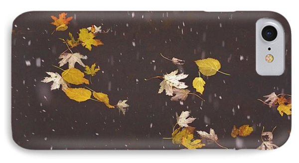 Floating Autumn Leaves During Snowfall         Indiana IPhone Case