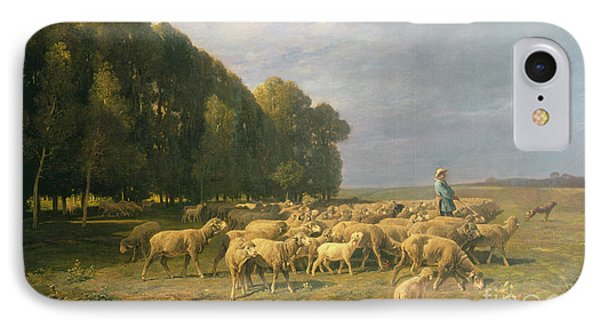Flock Of Sheep In A Landscape IPhone Case