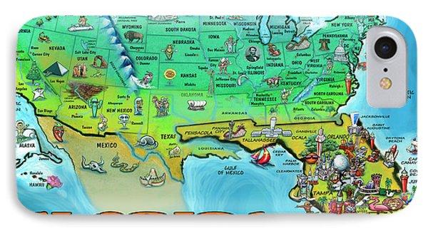 Florida Usa Cartoon Map IPhone Case