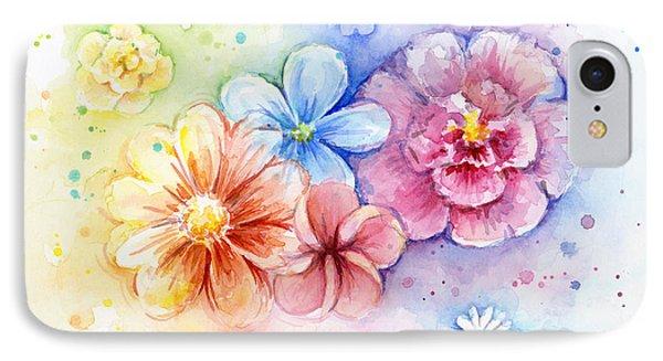 Beautiful Nature iPhone 8 Case - Flower Power Watercolor by Olga Shvartsur