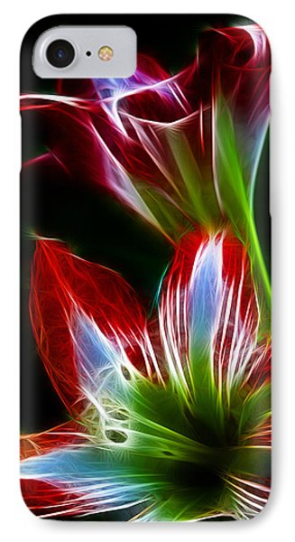 Flowers In Green And Red IPhone Case