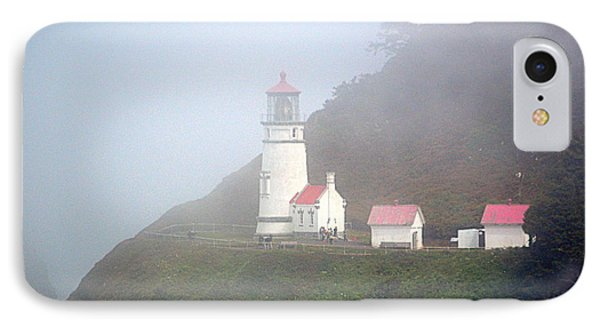 IPhone Case featuring the photograph Foggy Day At The Heceta Head Lighthouse by AJ Schibig