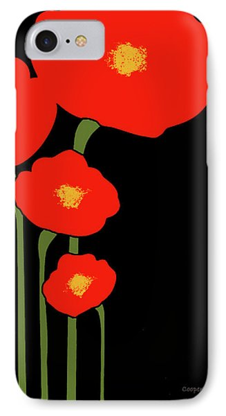Four Red Flowers On Black IPhone Case