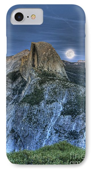 Full Moon Rising Behind Half Dome IPhone Case