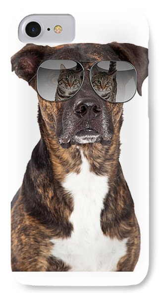 Funny Dog With Cat Reflection In Sunglasses IPhone Case
