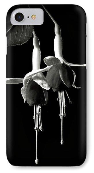 Fuschias In Black And White IPhone Case