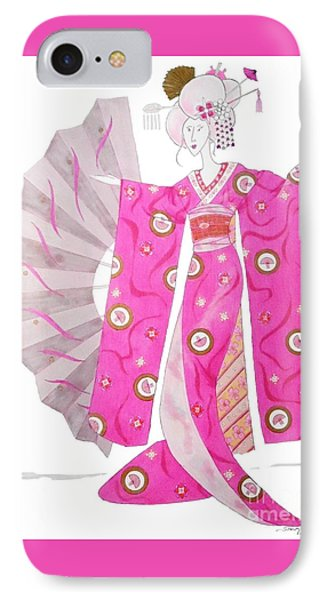 Geisha Barbie -- Whimsical Geisha Girl Drawing IPhone Case