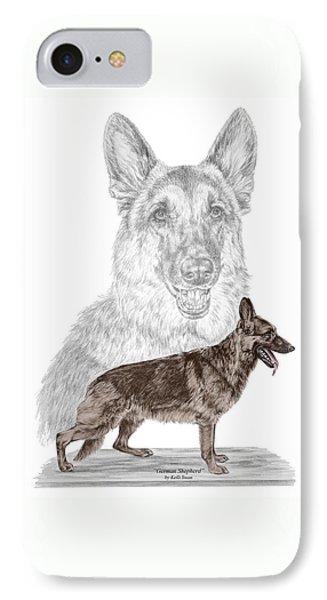 German Shepherd Art Print - Color Tinted IPhone Case