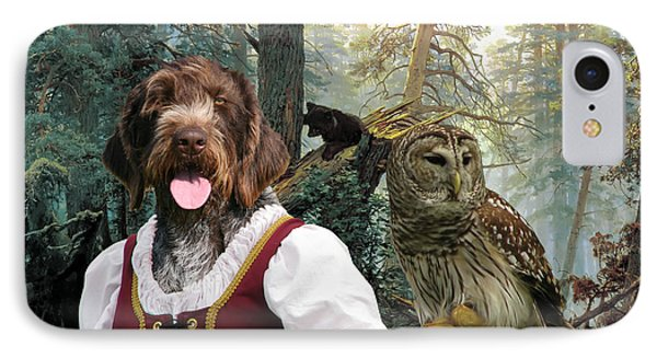 German Wirehaired Pointer Art Canvas Print - Lady Owl And Little Bears IPhone Case