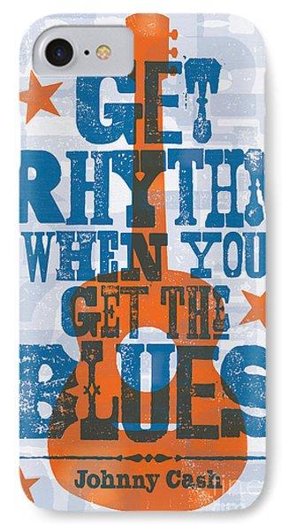 Get Rhythm - Johnny Cash Lyric Poster IPhone Case