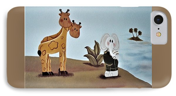 Giraffes, Elephants And Palm Trees IPhone Case