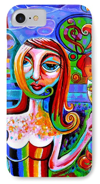 Girl With Glass Of Chardonnay IPhone Case