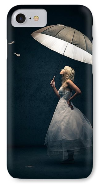 Beautiful iPhone 8 Case - Girl With Umbrella And Falling Feathers by Johan Swanepoel
