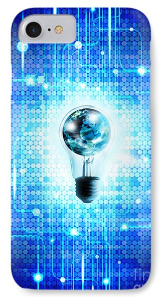 Globe And Light Bulb With Technology Background IPhone Case