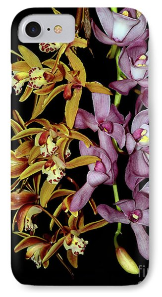 IPhone Case featuring the photograph Gold And Red Orchid Display By Kaye Menner by Kaye Menner