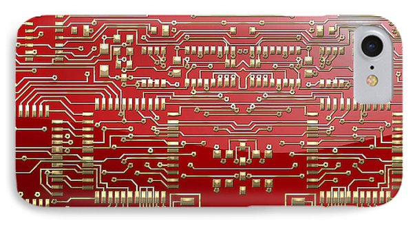 Gold Circuitry On Red IPhone Case