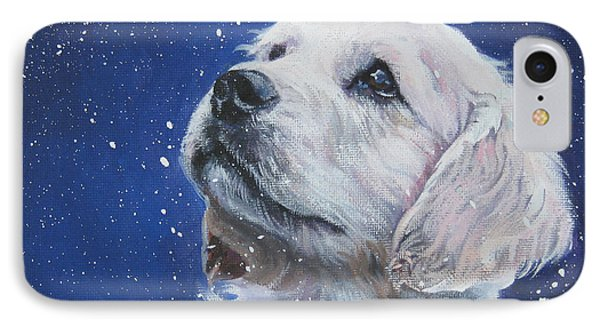 Golden Retriever Pup In Snow IPhone Case