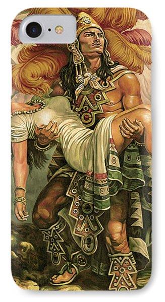 d95a051a4 Aztec Warrior iPhone 8 Case - Grandeza Azteca Sepia by Daniel Ayala
