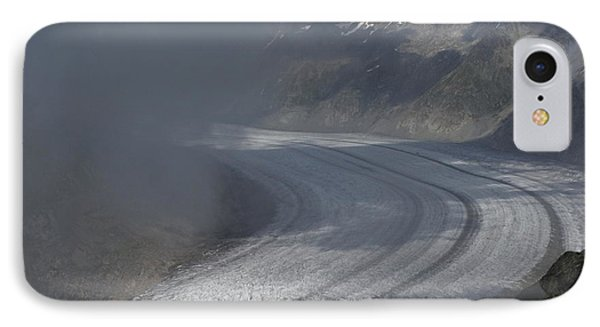 Great Aletsch Glacier In The Clouds. Canton Of Valais, Switzerland. IPhone Case